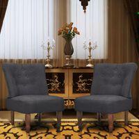 vidaXL Francuske stolice od tkanine 2 kom sive