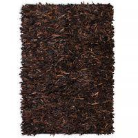 vidaXL Čupavi tepih od prave kože 80x160 cm smeđi