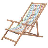 vidaXL Sklopiva ležaljka za plažu od tkanine s drvenim okvirom višebojna
