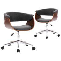vidaXL Okretne blagovaonske stolice od tkanine 2 kom sive