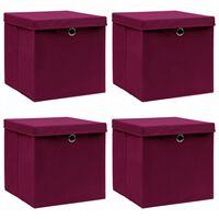 vidaXL Kutije za pohranu s poklopcima 4 kom tamnocrvene 32x32x32 cm