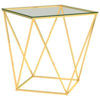 vidaXL Stolić za kavu zlatno-prozirni 50 x 50 x 55 cm nehrđajući čelik