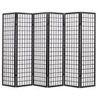 vidaXL Sklopiva sobna pregrada sa 6 panela u japanskom stilu 240x170 cm crna
