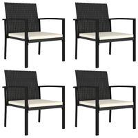 vidaXL Vrtne blagovaonske stolice od poliratana 4 kom crne