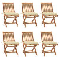 vidaXL Sklopive vrtne stolice s jastucima 6 kom od masivne tikovine
