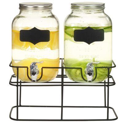 vidaXL Dozatori za piće sa stalkom 2 kom 2 x 4 L stakleni