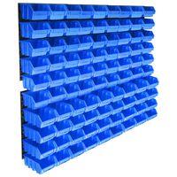 vidaXL 96-dijelni set kutija za pohranu sa zidnim pločama plavi