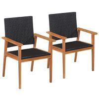 vidaXL Vrtne stolice od poliratana 2 kom crno-smeđe