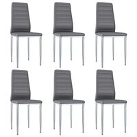 vidaXL Blagovaonske stolice od umjetne kože 6 kom sive
