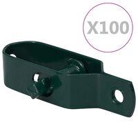vidaXL Zatezači za žicu za ogradu 100 kom 90 mm čelični zeleni