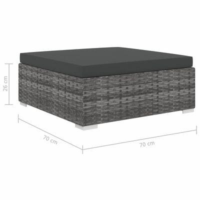 vidaXL 13-dijelna vrtna garnitura od poliratana s jastucima siva