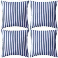 vidaXL Vrtni jastuci s prugastim uzorkom 4 kom 45 x 45 cm mornarsko plavi