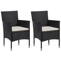 vidaXL Vrtne blagovaonske stolice od poliratana 2 kom crne