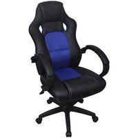 vidaXL Uredska stolica od Vještačke kože Plava