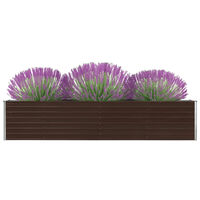 vidaXL Vrtna sadilica od pocinčanog čelika 320 x 40 x 45 cm smeđa