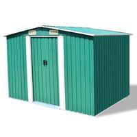 vidaXL Vrtna kućica za pohranu zelena metalna 257 x 205 x 178 cm