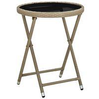 vidaXL Stolić za čaj bež 60 cm od poliratana i kaljenog stakla