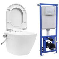 vidaXL Zidna WC školjka s ugradbenim vodokotlićem keramička bijela
