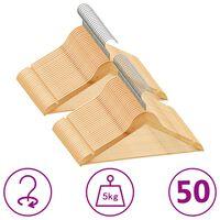 vidaXL 50-dijelni set vješalica za odjeću protuklizni od tvrdog drva