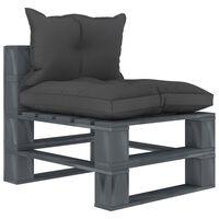 vidaXL Vrtna središnja sofa od paleta s crnim jastucima drvena