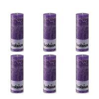 Bolsius Rustikalne stupne svijeće 190 x 68 mm ljubičaste 6 kom