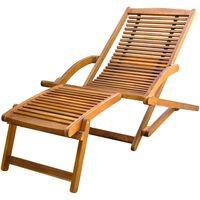 vidaXL Vrtna stolica s naslonom za noge masivno bagremovo drvo
