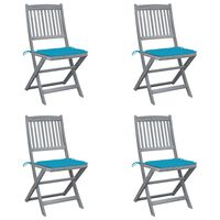 vidaXL Folding Outdoor Chairs 4 pcs with Cushions Solid Acacia Wood (46336+47591)