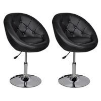 vidaXL Barske stolice od umjetne kože 2 kom crne