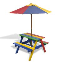 vidaXL Dječji stol & klupe za piknik sa suncobranom četiri boje