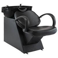 vidaXL Salonska stolica za pranje kose s umivaonikom crna umjetna koža