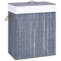 vidaXL Košara za rublje od bambusa siva 83 L