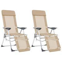 vidaXL Sklopive stolice za kampiranje 2 kom krem aluminijske