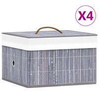 vidaXL Kutije za pohranu od bambusa 4 kom sive