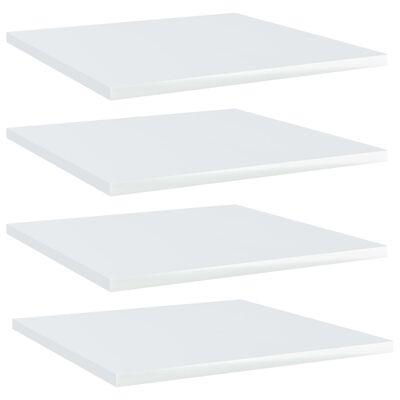 vidaXL Police za knjige 4 kom visoki sjaj bijele 40x40x1,5 cm iverica