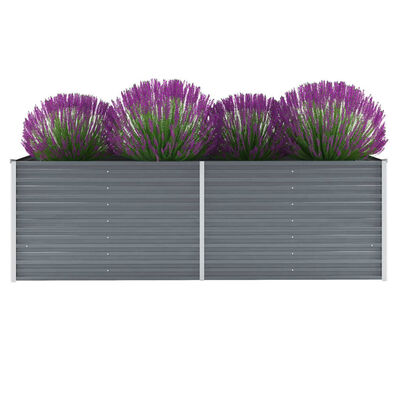 vidaXL Vrtna sadilica od pocinčanog čelika 240 x 80 x 77 cm siva