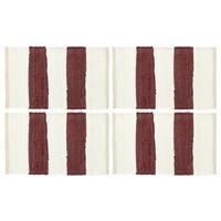 vidaXL Podmetači za stol 4 kom chindi prugasti bordo-bijeli 30 x 45 cm