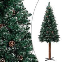 vidaXL Usko božićno drvce s pravim drvom i snijegom zeleno 210 cm