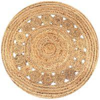 vidaXL Ukrasni pleteni tepih od jute 90 cm okrugli