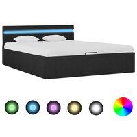 vidaXL Hidraulični okvir za krevet od tkanine LED tamnosivi 140x200 cm