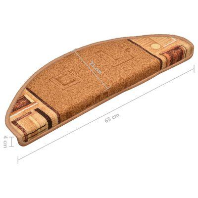 vidaXL Samoljepljivi otirači za stepenice 15 kom bež 65 x 21 x 4 cm