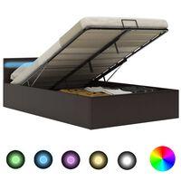 vidaXL Hidraulični okvir za krevet od umjetne kože LED sivi 140x200 cm