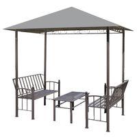 vidaXL Vrtni paviljon sa stolom i klupama 2,5 x 1,5 x 2,4 m antracit