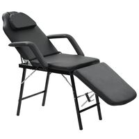 vidaXL Prenosiva kozmetička stolica od umjetne kože 185 x 78 x 76 cm crna