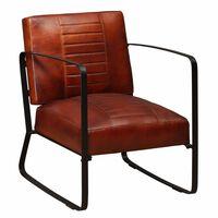 vidaXL Lounge stolica od prave kože smeđa