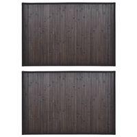 2 Prostirke za Kupaonicu Bambus 40 x 50 cm Tamno Smeđa boja