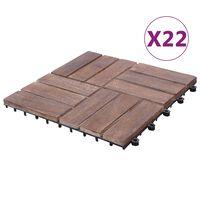 vidaXL Pločice za trijem 22 kom 30 x 30 cm masivno obnovljeno drvo