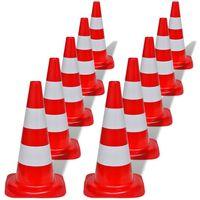 10 svjetlećih prometnih čunjeva, 50 cm, bijelo-crveni
