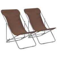 vidaXL Sklopive stolice za plažu 2 kom čelik i tkanina Oxford smeđe