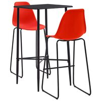 vidaXL 3 Piece Bar Set Plastic Red (281549+281511)
