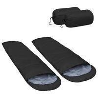 vidaXL Lagane vreće za spavanje 2 kom crne 15 ℃ 850 g
